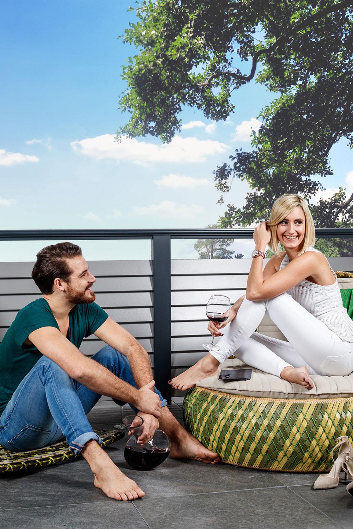 Freizeit auf dem Balkon genießen