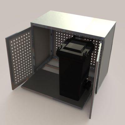 Mülltonnenbox groß in RAL 9007 graualuminium